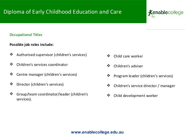 Certificate iii and diploma of early childhood education and care ppt