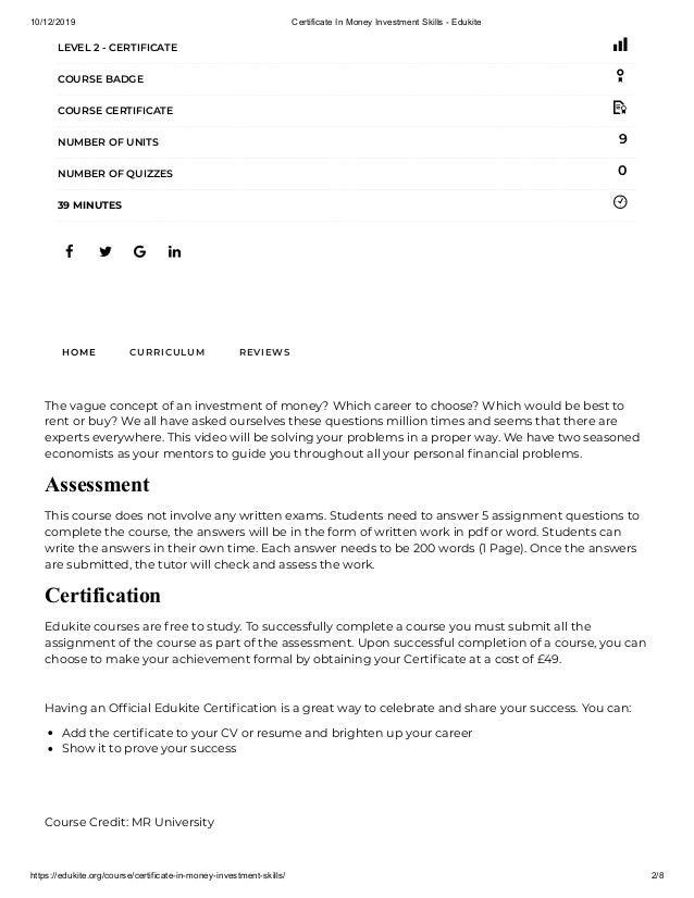 10/12/2019 Certificate In Money Investment Skills - Edukite https://edukite.org/course/certificate-in-money-investment-ski...
