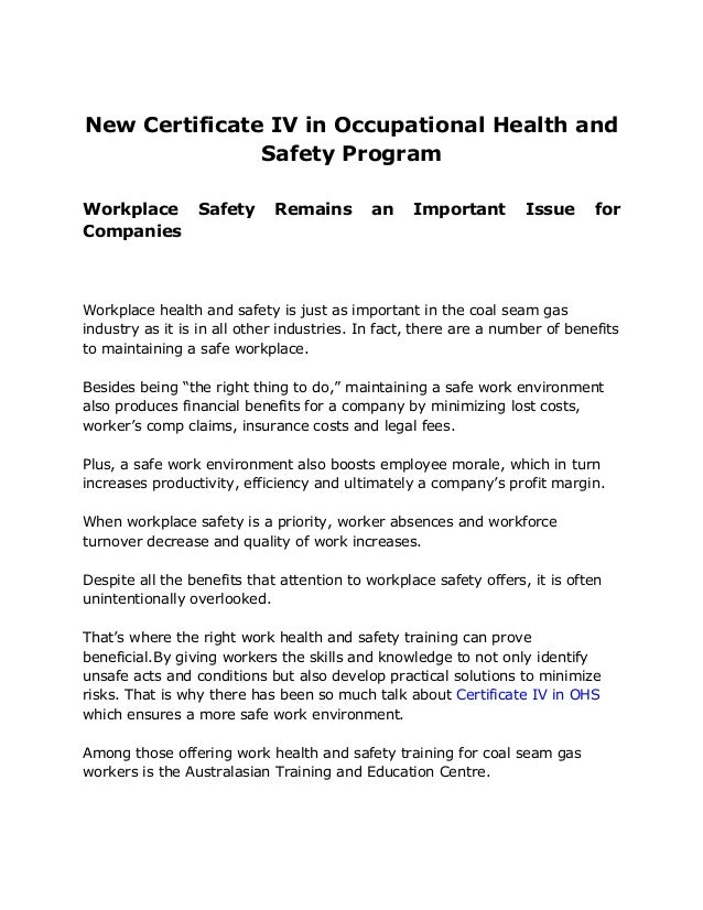 Certificate Iv In Ohs Occupational Health And Safety Program