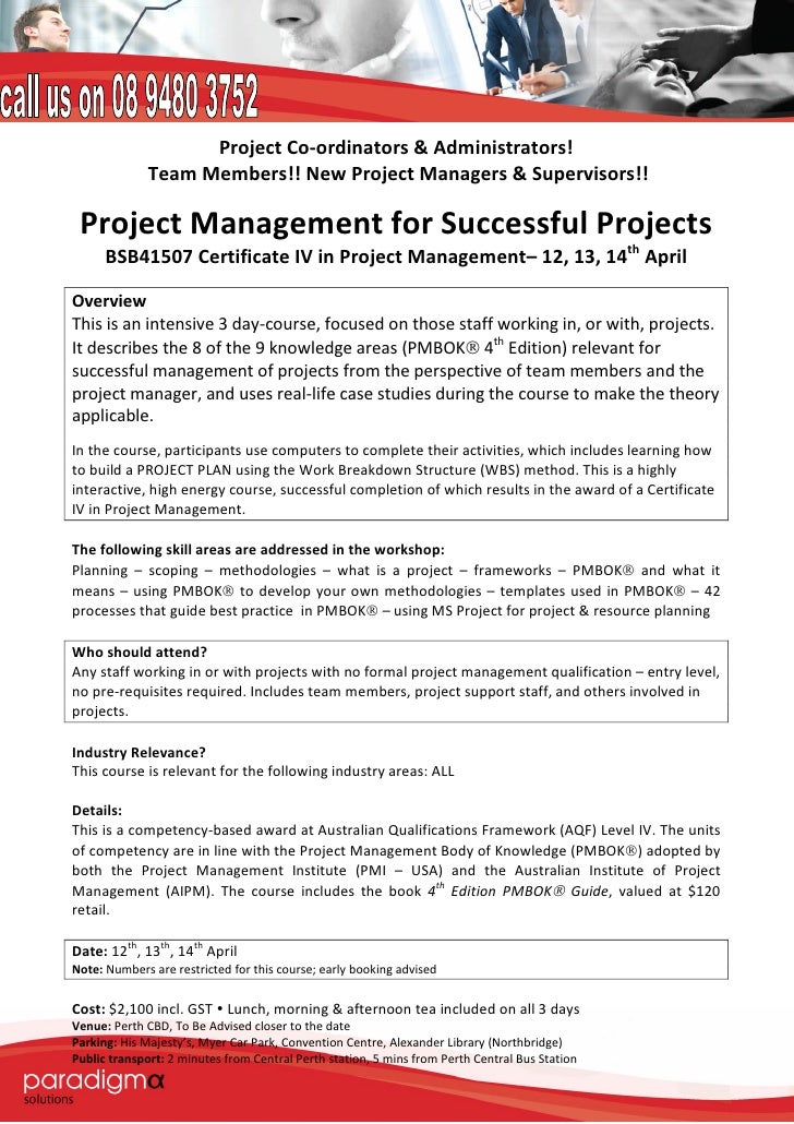 Certificate Iv In Project Mgmt 12 13 14 April Successful Projects