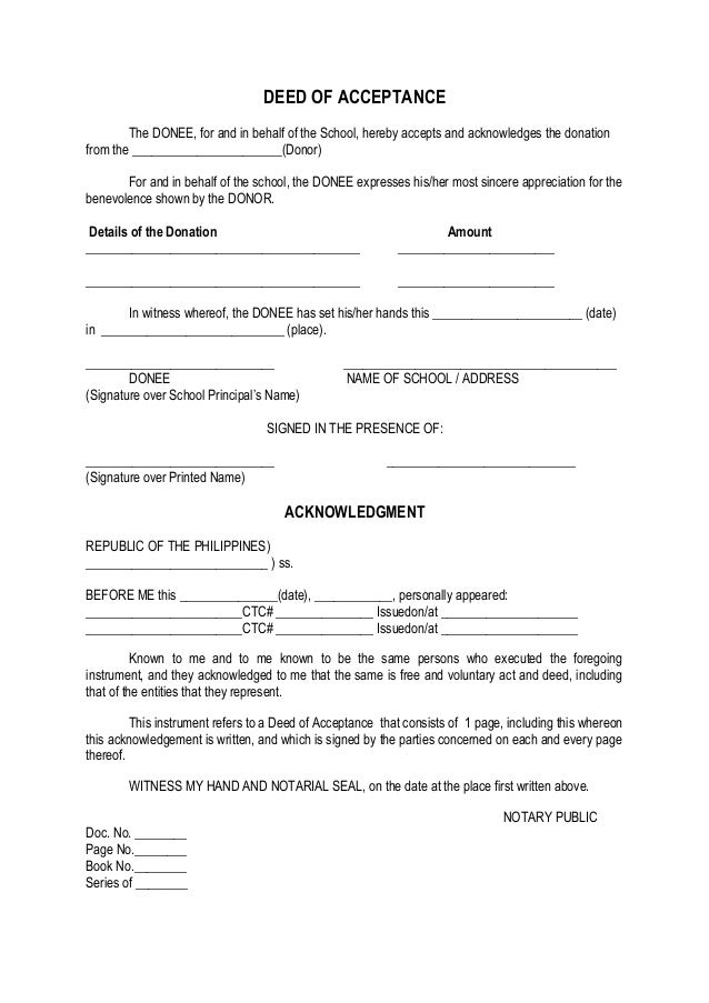 Certificate Of Acceptance Format. DEED OF ACCEPTANCE The DONEE, For And In  Behalf Of The School, Hereby Accepts  Certificate Of Donation Template