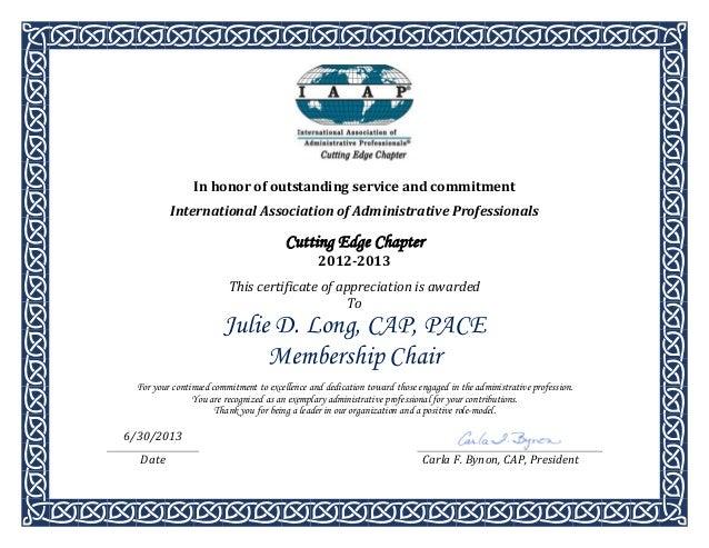 certificate of appreciation 2012 2013 j long