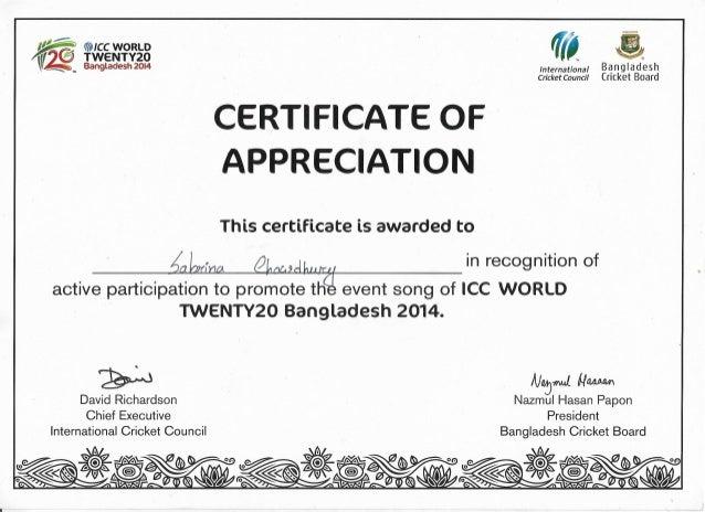 Certificate of appreciation ICC T20 2014