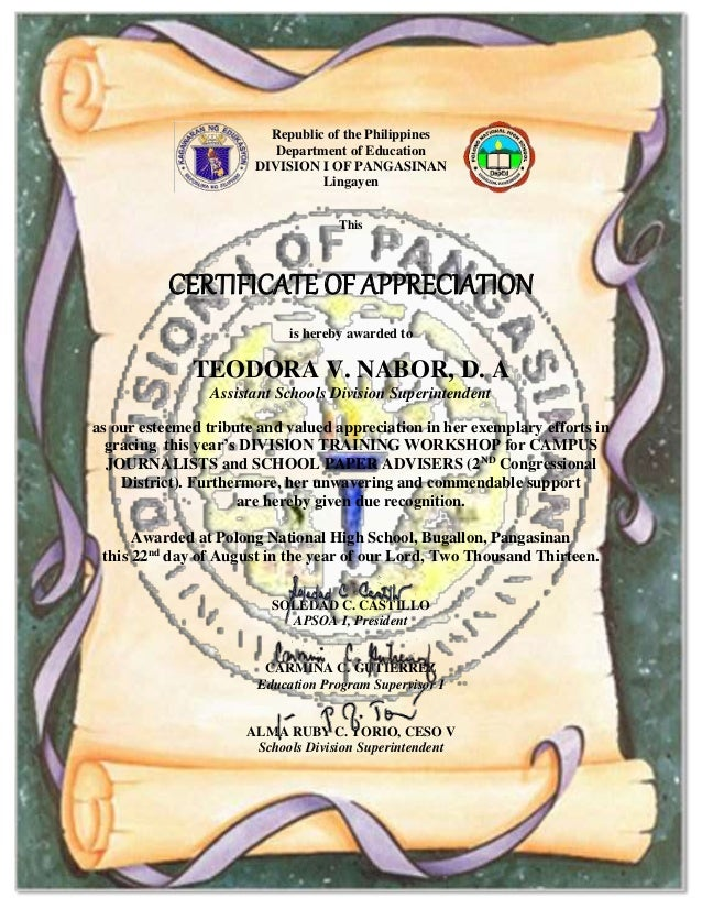 Certificate of appreciation with signature to print republic of the philippines department of education division i of pangasinan lingayen this certificate of appreciation yelopaper