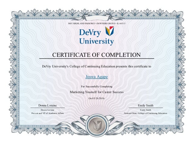 Certificate In Marketing Yourself In Career Success