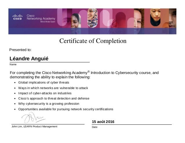 Certificate Of Completion Cyber Security