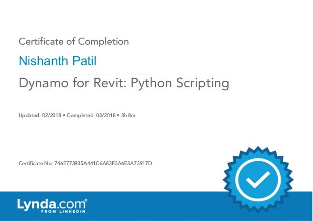 Certificate of Completion : Dynamo for Revit : Python Scripting