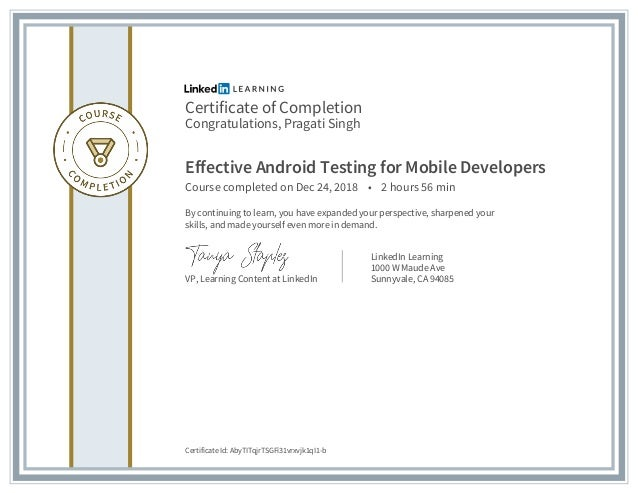 Certificate of completion effective android testing for