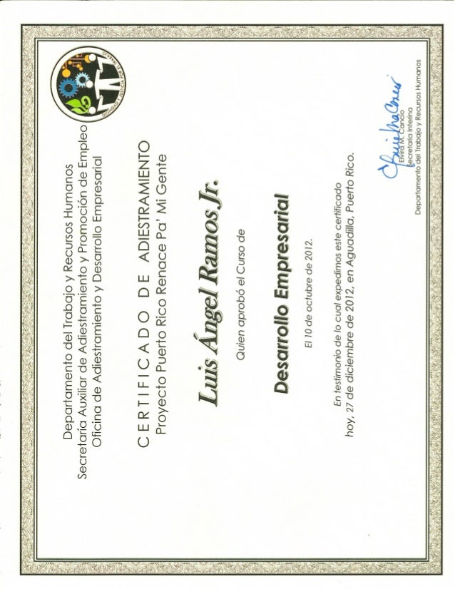 Certificate of completion small business training dept  of