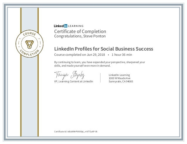 Certificate of Completion - Linkedin Profiles for Social Business
