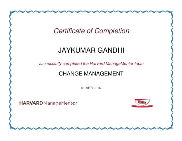 certificate completion management change slideshare upcoming successfully completed