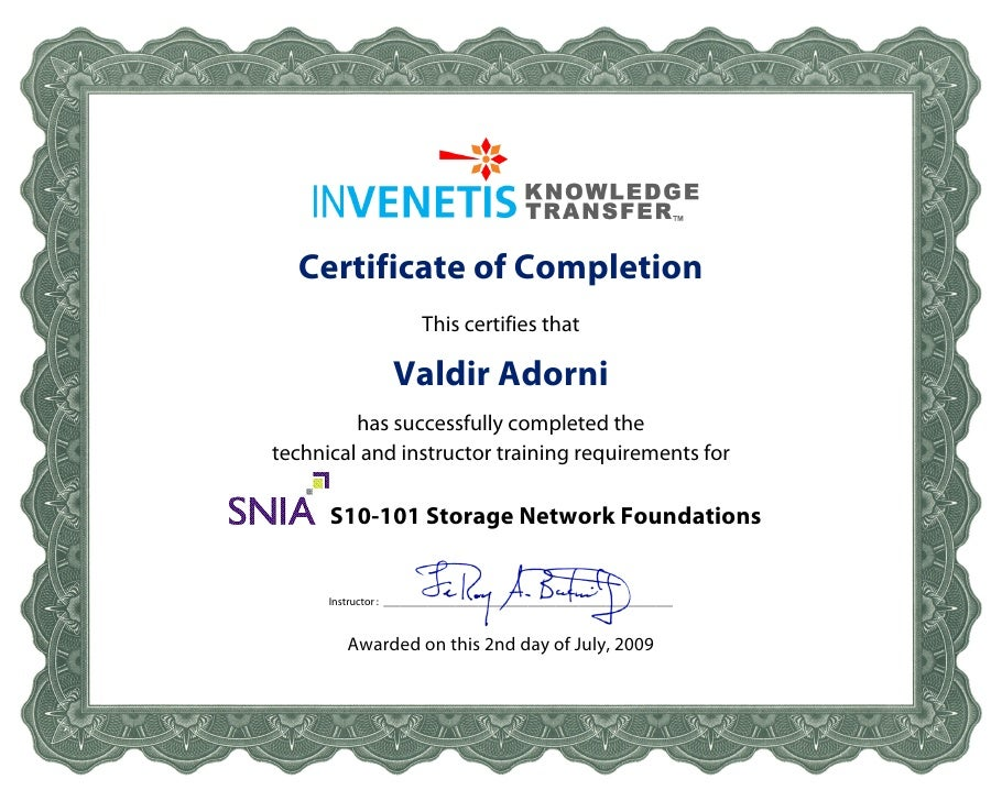 Certificate of Completion                         This certifies that                    Valdir Adorni           has succe...