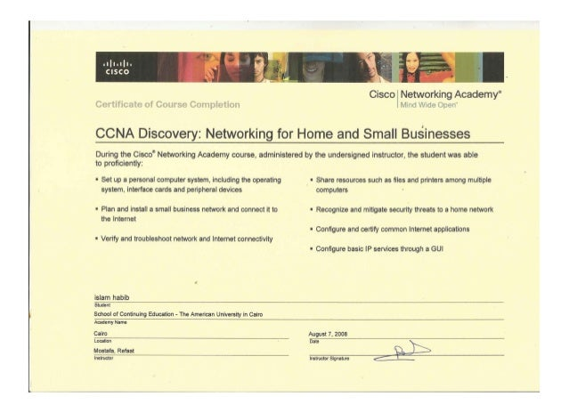 Certificate of course completion ccna discovery network for home and …