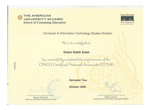 Certificate of course completion ccna semester two