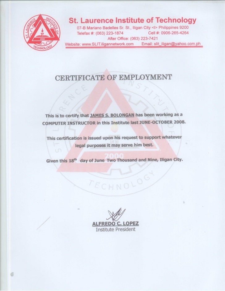 Certificate Of Employment St Laurence Institute Of Technology
