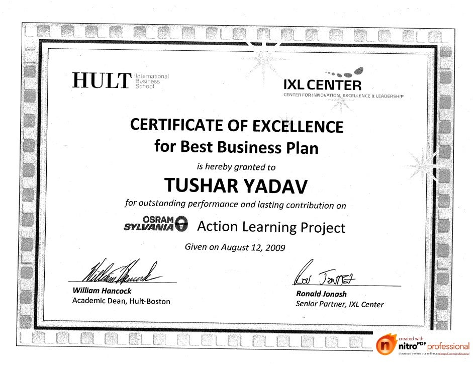 Certificate Of Excellence For Best Business Plan