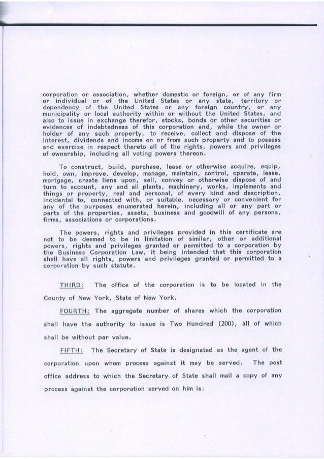 Certificate Of Incorporation Banque Loic Henri Inc