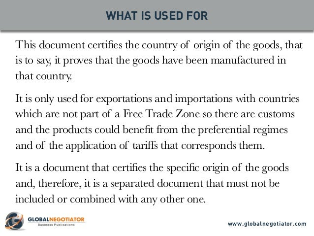 CERTIFICATE OF ORIGIN Form and User Guide – Country of Origin Document