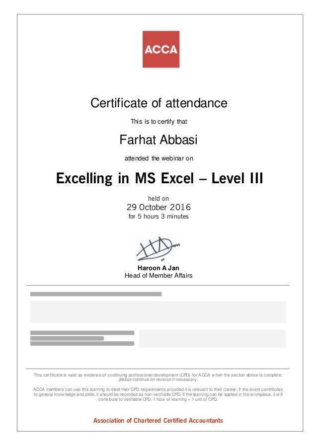 Certificate Of Participation Excelling In Ms Excel Level Iii