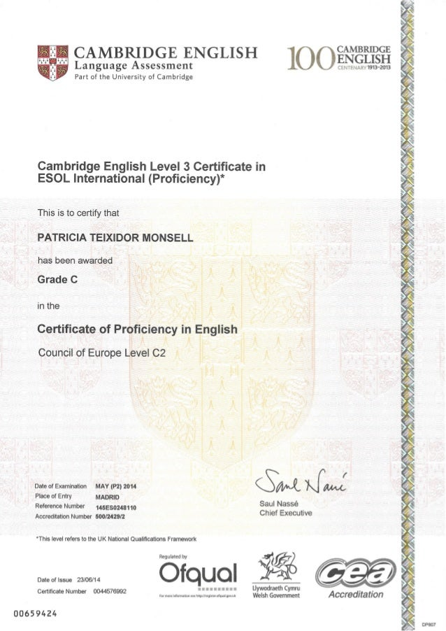 Certificate Of Proficiency In English Cpe