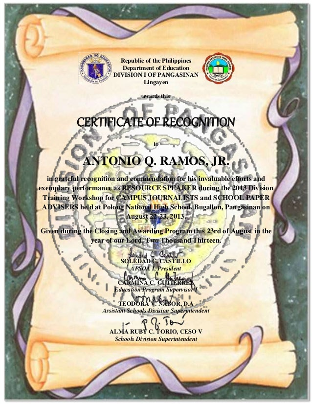 Certificate of recognition for resource speakers to print republic of the philippines department of education division i of pangasinan lingayen awards this certificate of certificate of recognition yelopaper Choice Image