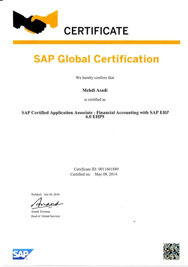 Certificate Of Sap Financial Accounting Erp