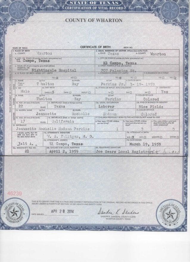 Certificate Of Live Birth Registered Owner Affidavit