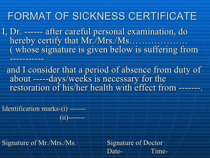 Certificates format of sickness certificate yelopaper Images