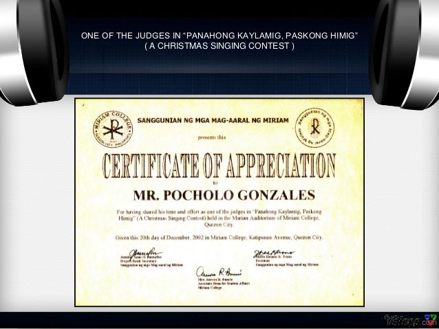 Certificates of Pocholo Gonzales