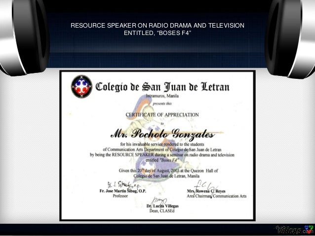 Certificates of pocholo gonzales resource speaker yadclub Images