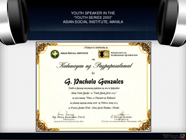 Certificates of pocholo gonzales 74 youth speaker yadclub Choice Image