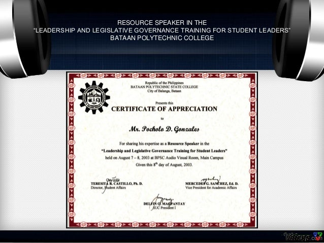 Certificates of pocholo gonzales resource speaker yadclub Choice Image