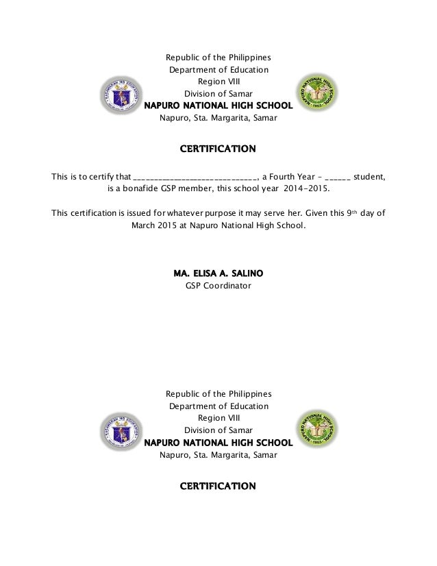 Certificates certificates republic of the philippines department of education region viii division of samar napuro national high school yadclub Choice Image