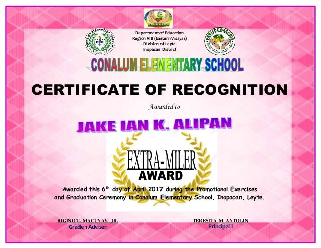 Certificates of recognition special awards department of education region viii eastern visayas division of leyte inopacan district certificate of certificates of recognition yelopaper Gallery