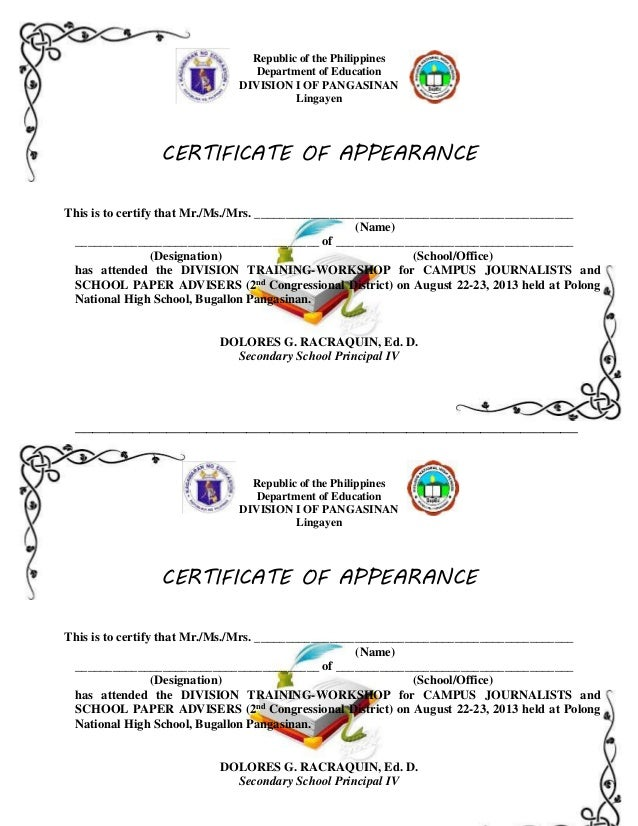 Certificates of appearance to print republic of the philippines department of education division i of pangasinan lingayen certificate of appearance this yadclub Images