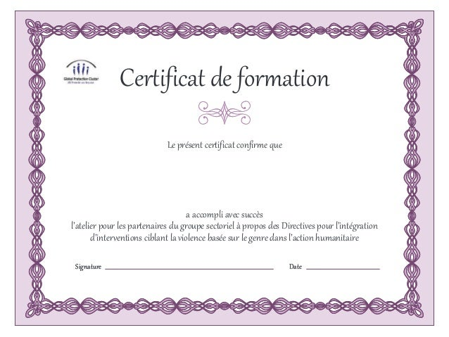 Certificat de formation for Certificat de precompte