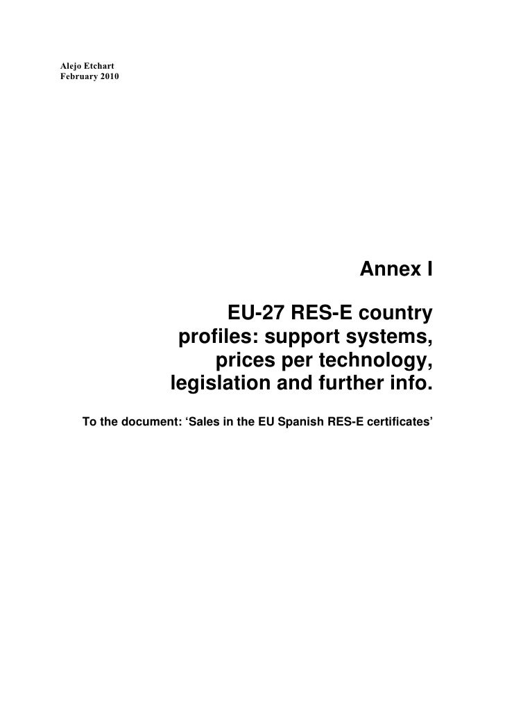 Annex to doc 'Sales of Spanish green certificates in the EU'