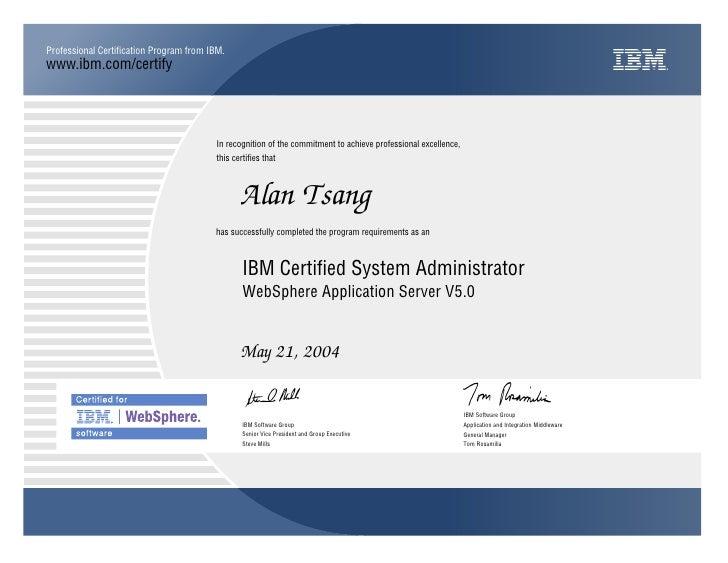 Alan Tsang Websphere Application Server Administrator 50 Certifica