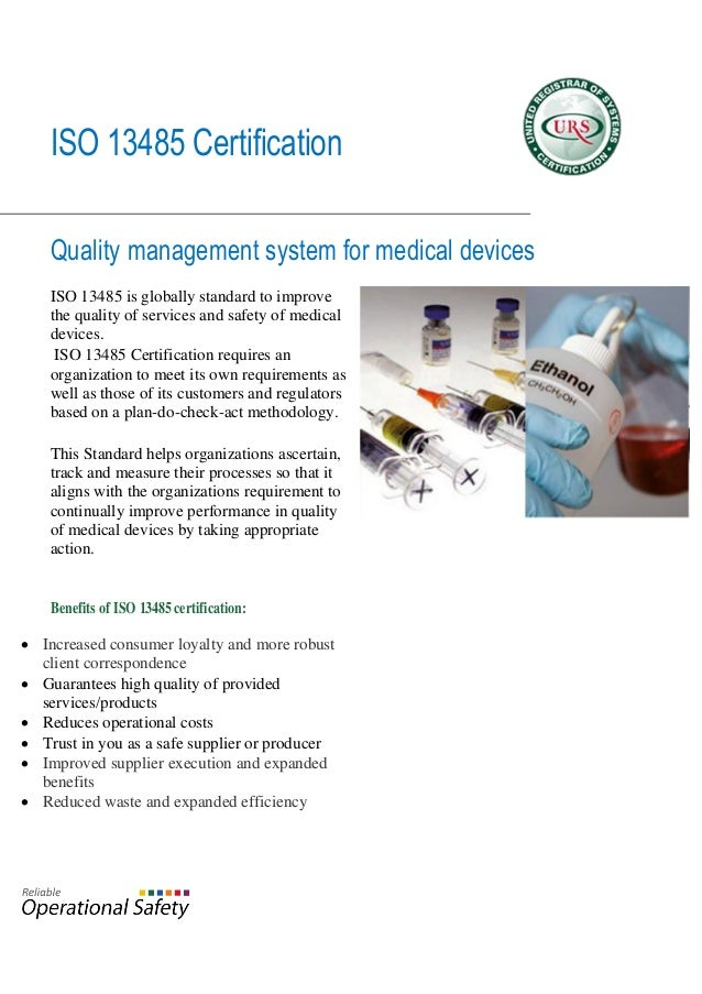 Certification to ISO 13485