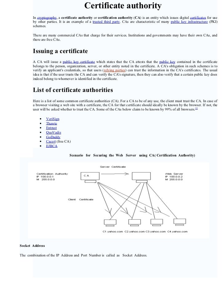 Certificate authority        In cryptography, a certificate authority or certification authority (CA) is an entity which i...