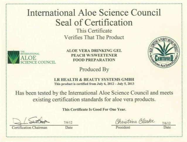 Сертификат на продукцию LR Алое Вера