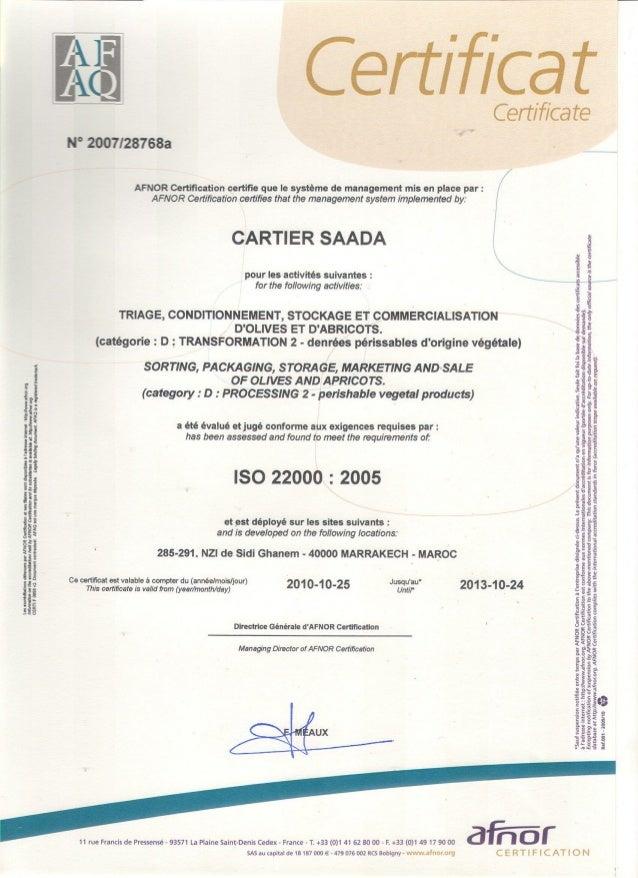 Certification Cartier