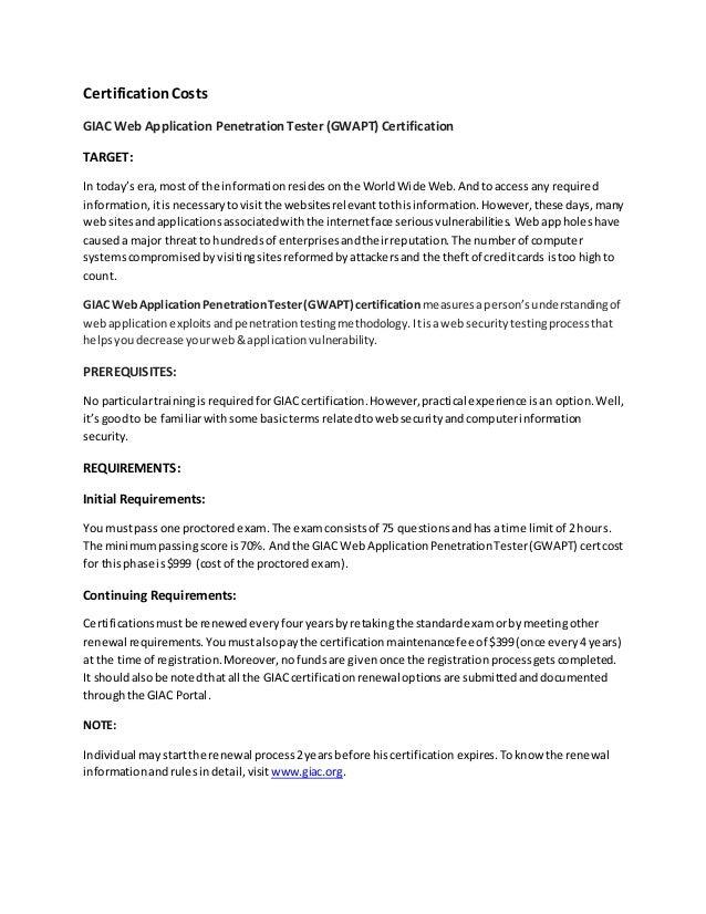 David Falor - Certification costs
