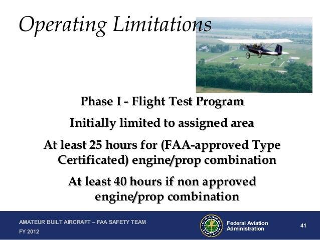 Certification Operation of Experimental Amateur Built