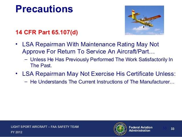 Operation and Maintenance of Light Sport Aircraft