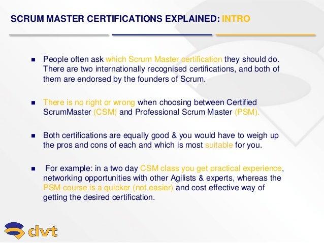 dvt scrum master certifications explained