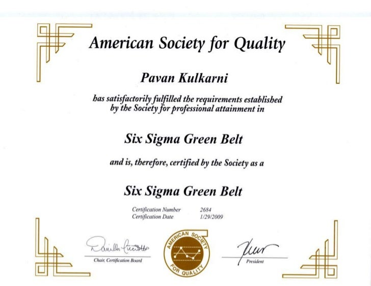 Certification Six Sigma Green Belt