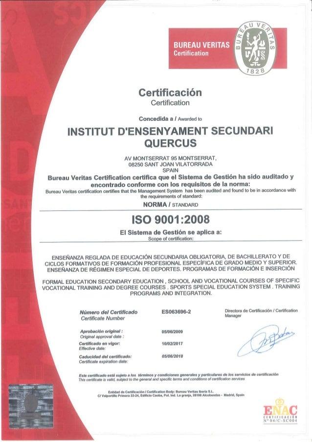 Certificat qualitat