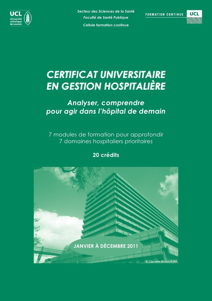 Secteur des Sciences de la Santé            Faculté de Santé Publique            Cellule formation continueCERTIFICAT UNIV...