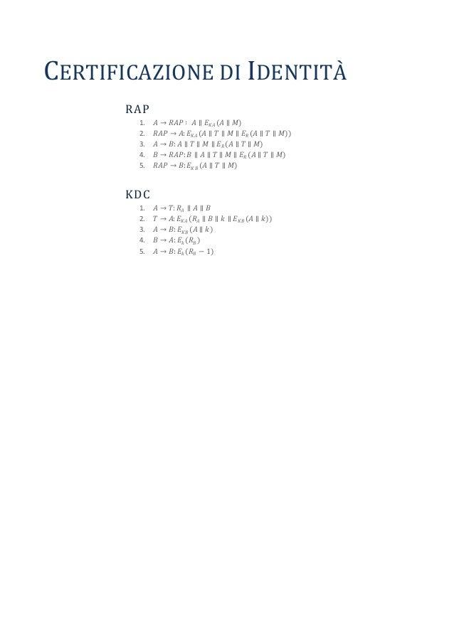 CERTIFICAZIONE DI IDENTITÀ       RAP        1.   𝐴→    𝑅𝐴𝑃 ∶ 𝐴 ∥ 𝐸 𝐾𝐴 (𝐴 ∥ 𝑀)        2.   𝑅𝐴𝑃   → 𝐴: 𝐸 𝐾𝐴 (𝐴 ∥ 𝑇 ∥ 𝑀 ∥ 𝐸 𝑅...